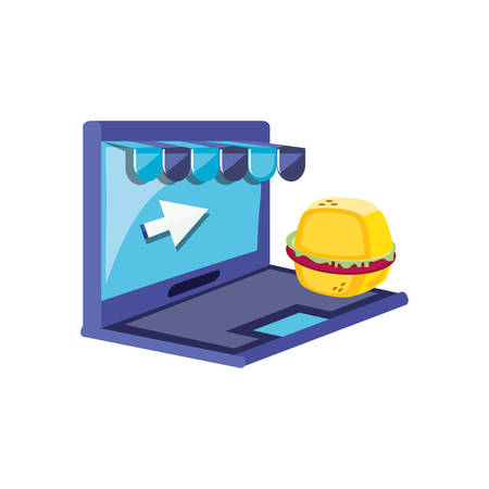 laptop computer with hamburger and parasol vector illustration design