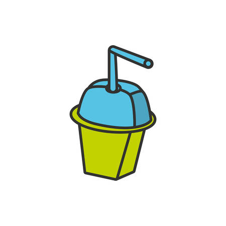 bottle beverage with straw isolated icon vector illustration design