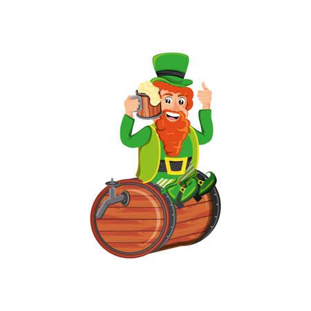 leprechaun with beer seated in barrel vector illustration design