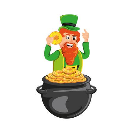 leprechaun and cauldron with coins vector illustration design Illustration