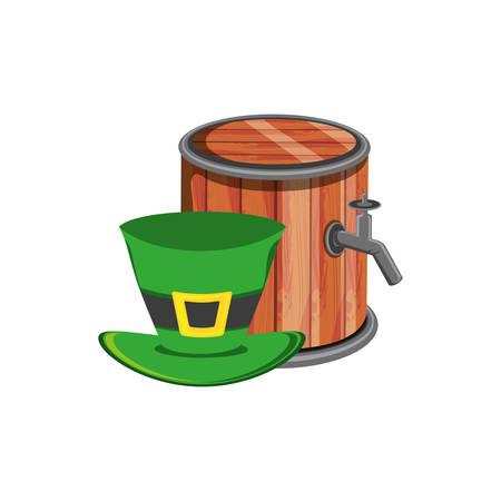 barrel wooden beer with leprechaun hat vector illustration design