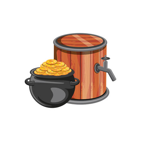 barrel wooden beer with leprechaun cauldron vector illustration design