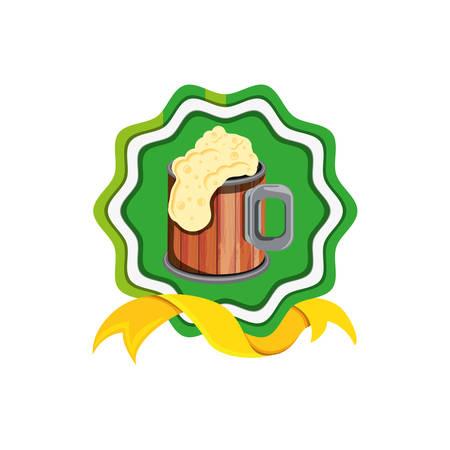 jar wooden beer in seal with ribbon vector illustration design