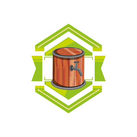 barrel wooden beer in seal vector illustration design