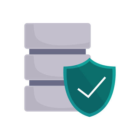 database server shield protrection checkmark data security vector illustration