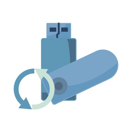 usb stick backup data security vector illustration
