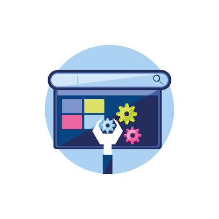 Page web modèle avec clé et engrenages vector illustration design