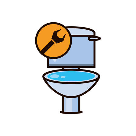toilet sanitary with wrench isolated icon vector illustration design