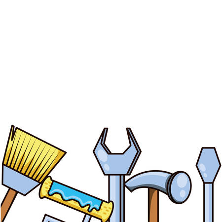 hammer with set tools isolated icon vector illustration design