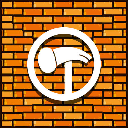 brick wall with hammer isolated icon vector illustration design  イラスト・ベクター素材