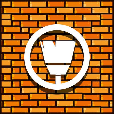 brick wall with paint brush isolated icon vector illustration design  イラスト・ベクター素材