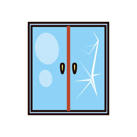 glass window broken icon vector illustration design Vettoriali