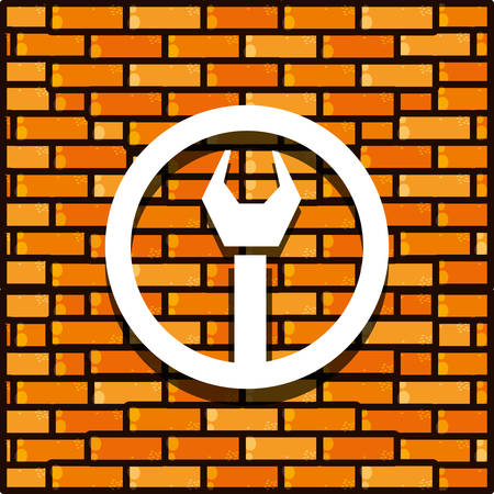 brick wall with wrench tool isolated icon vector illustration design  イラスト・ベクター素材