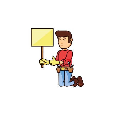 construction worker with banner signal vector illustration design Illustration