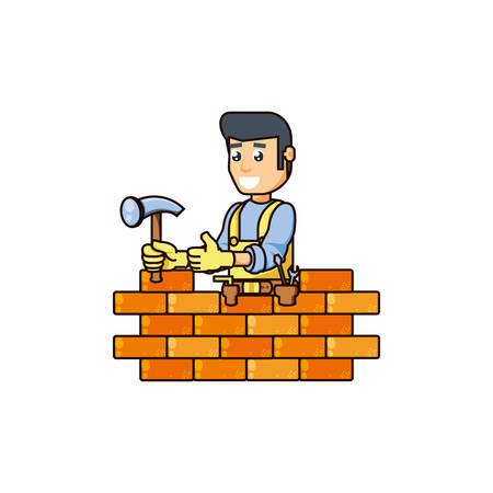 construction worker with hammer tool and wall vector illustration design