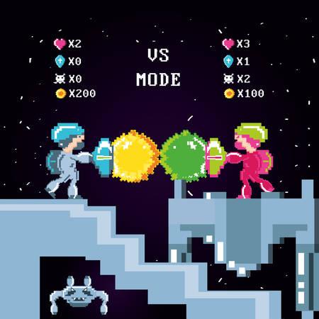 Escena de videojuego clásico con guerreros lucha, diseño de ilustraciones vectoriales Ilustración de vector