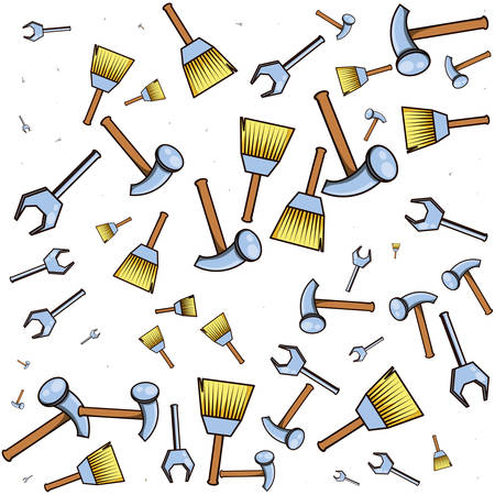 pattern of hammer and tools vector illustration design