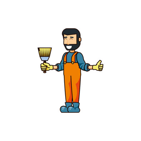 construction worker with paint brush vector illustration design 矢量图像
