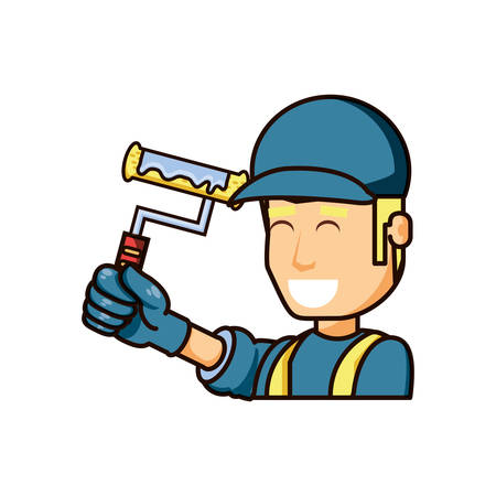 construction worker with paint roller vector illustration design