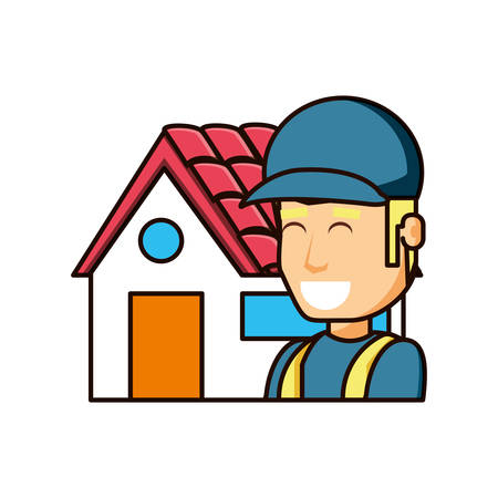 construction worker with exterior house vector illustration design
