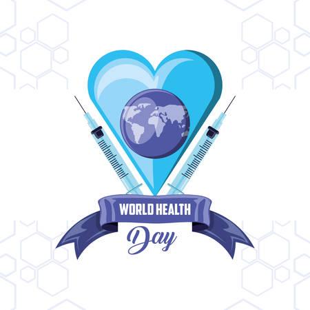 world health day card with heart vector illustration design Illustration