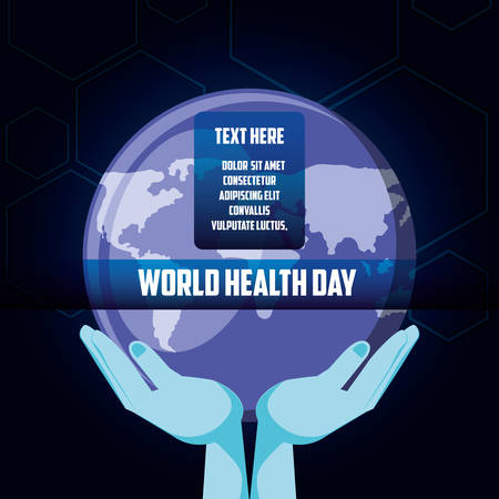 world health day card with planet earth vector illustration design  イラスト・ベクター素材