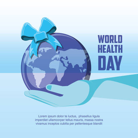 world health day card with planet earth vector illustration design Ilustração