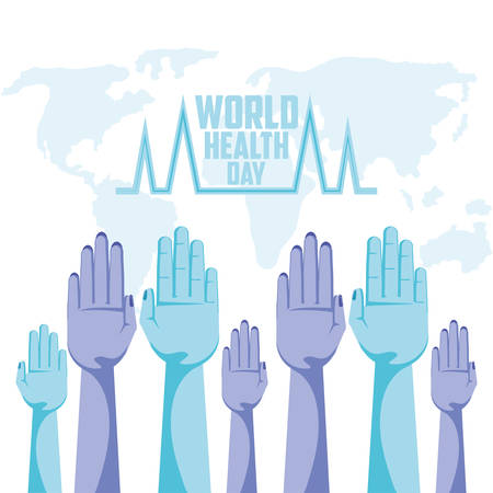world health day card with hands up vector illustration design