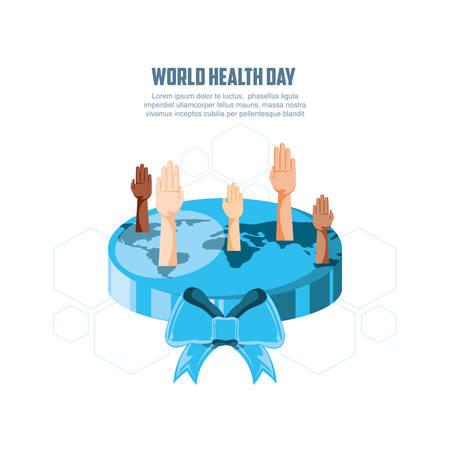 world health day card with planet and hands vector illustration design