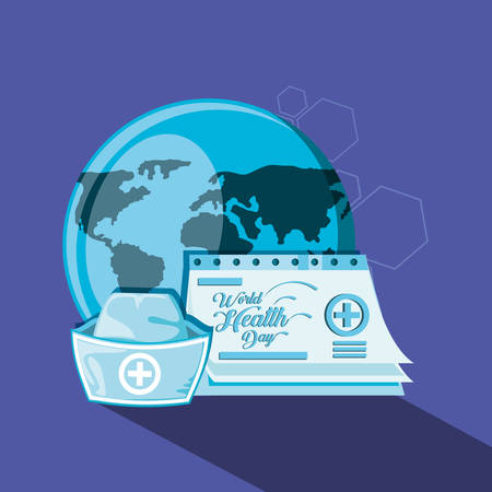 world health day with planet and icons vector illustration design Illustration