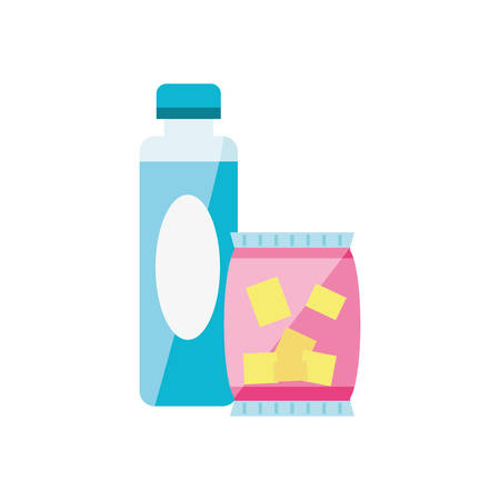 snack chips with bottle drink isolated icon vector illustration design Archivio Fotografico - 125163964