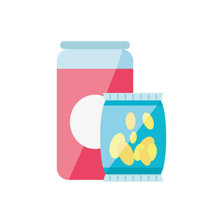 potato chip with canned drink isolated icon vector illustration design Archivio Fotografico - 125163965