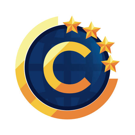 copyright protection of intellectual emblem vector illustration