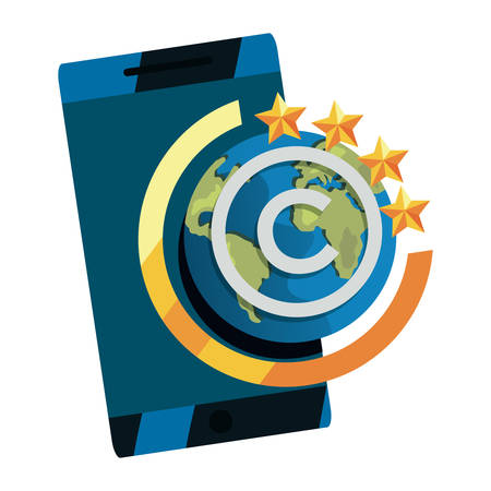 cellphone world copyright protection of intellectual vector illustration