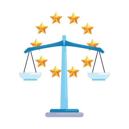 balance copyright of intellectual stars frame vector illustration