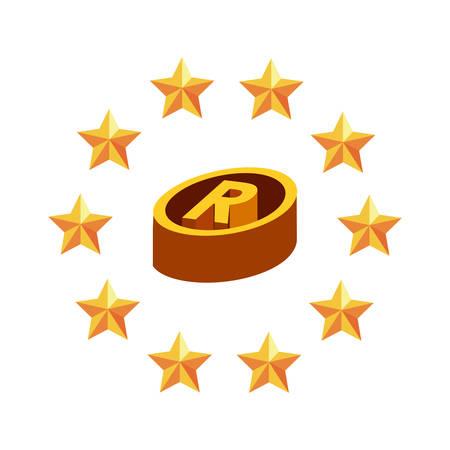 registered copyright of intellectual stars frame vector illustration