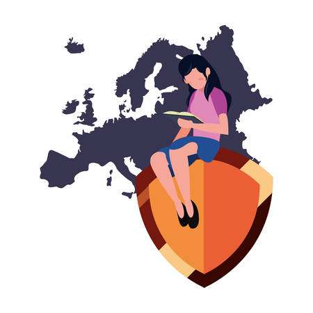 woman reading book protection european map copyright of intellectual vector illustration