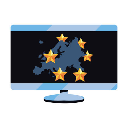computer european map copyright protection of intellectual vector illustration