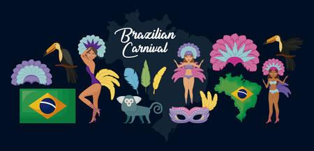carnival janeiro set icons vector illustration design