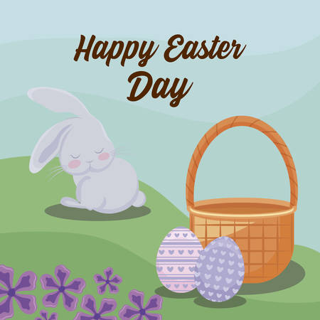 happy easter day card with rabbit and eggs vector illustration design