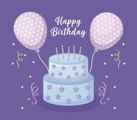 happy birthday card with sweet cake and balloons helium vector illustration design