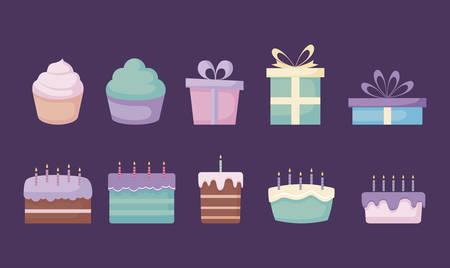 set of sweet cakes and gift boxes vector illustration design