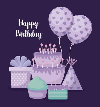 happy birthday card with sweet cake and set icons vector illustration design