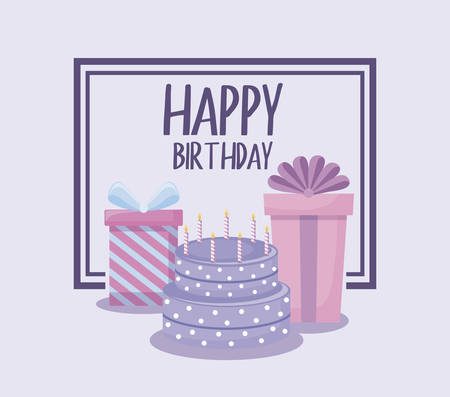 happy birthday card with sweet cake and gift boxes vector illustration design