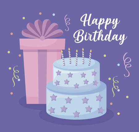 happy birthday card with sweet cake and gift box vector illustration design Ilustração