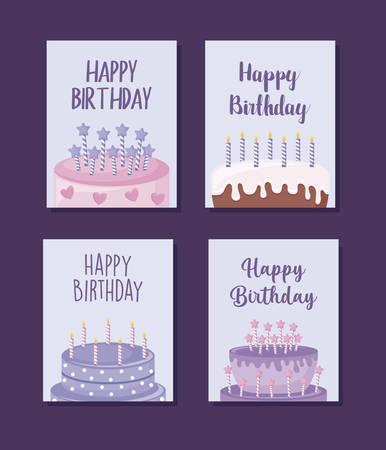set happy birthday cards with sweet cake vector illustration design Ilustração