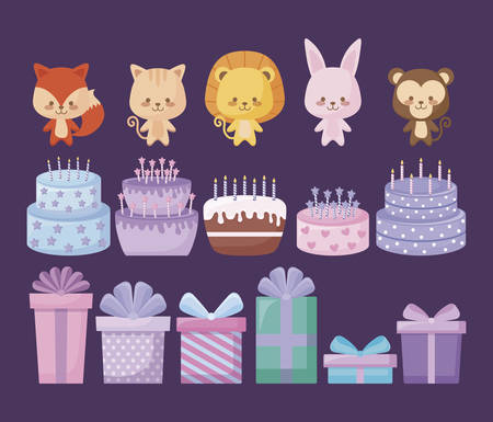 cute animals with sweet cakes and gift boxes vector illustration design
