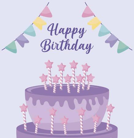 happy birthday card with sweet cake vector illustration design Ilustração