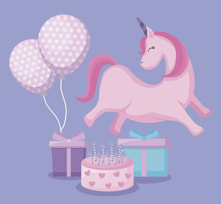 cute unicorn with balloons helium and set icons vector illustration design