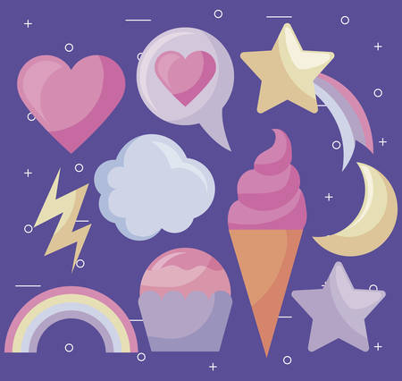 heart with cute set icons vector illustration design